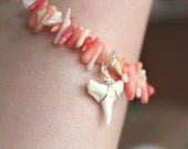 Shark Tooth & Coral Bracelet - Unique Chain Bracelet - Pink and White Coral
