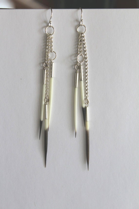 Dangle Chain Porcupine Quill Earrings - Long, Unique, And Super Cool