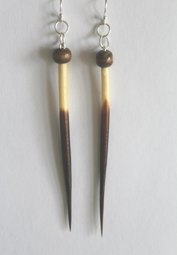 Long Porcupine Quill Earrings - Unqiue Real Porcupine Quills