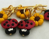Stitch Markers LADYBUG and SUNFLOWER for Knit or Crochet set of 6