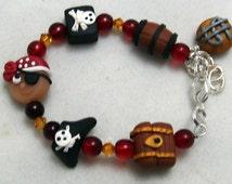 ARGH MATEY Child Bracelet  Polymer Clay Swarovski Crystals Pirate Treasure Barrel Jolly Roger Skull
