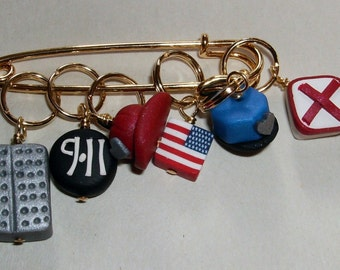 Stitch Markers Remember 9-11 for Knit or Crochet set of 6