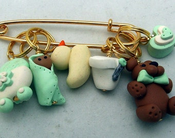 Stitch Markers it's a BABY  for Knit or Crochet set of 6