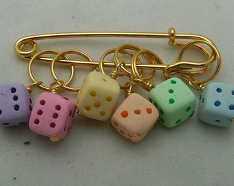 Stitch Markers Pastel DICE for Knit or Crochet set of 6 Gamer Gamble