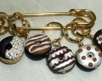 Stitch Markers FANCY DONUTS for Knit or Crochet set of 6 Peanut Chcolate frosting