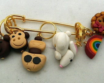 Stitch Markers NOAHS ARK  for Knit or Crochet set of 6 Monkey Bear Lion