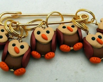 Stitch Markers OWLS  for Knit or Crochet set of 6