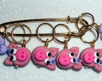Stitch Markers PIGGIES  for Knit or Crochet set of 6 Farm