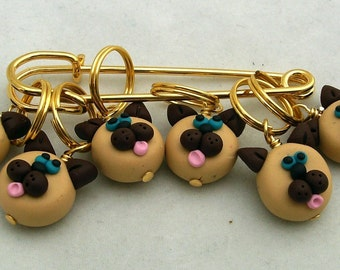 Stitch Markers SIAMESE CATS  for Knit or Crochet set of 6 Meezer