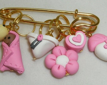Stitch Markers ITS A GIRL   for Knit or Crochet set of 6 Baby Diaper