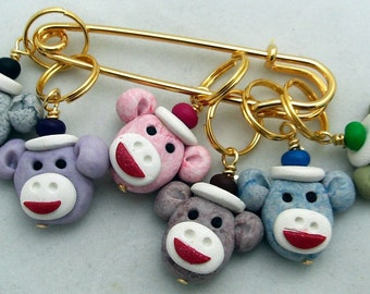 Stitch Markers SOCK MONKEY inspired  for Knit or Crochet set of 6
