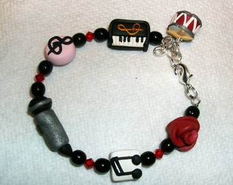 MUSICAL MUSE Child Bracelet  Polymer Clay Swarovski Crystals Piano Microphone Drum