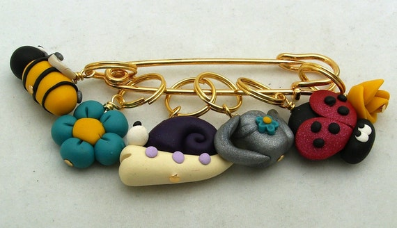 Stitch markers summer garden for knit or crochet set of 6 snail ladybug watering can from - Ladybug watering can ...