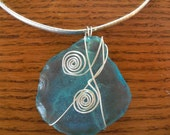 Large Aqua Sea Glass Sterling Silver Wire Wrapped Pendant  - Statement Piece