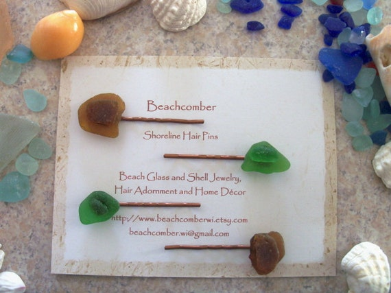 Beachcomber Shoreline Hair Pins - Amber and Green Sea Glass - Two Pairs