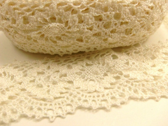 "Cluny Cotton Lace Destash 2 "" Inches Wide Creamy White 10 Yards"