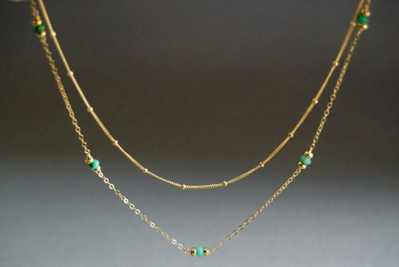Naniahiahi necklace - delicate layered 14kt gold filled and green chrysoprase necklace unique, delicate, modern everyday, maui, hawaii