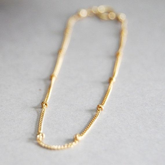 Olina bracelet - a delicate 14kt gold satellite chain bracelet, tiny bead bracelet, minimal minimalist layering bracelet, maui, hawaii