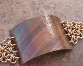 Hammered copper and bronze chainmaille bracelet in rainbow hues