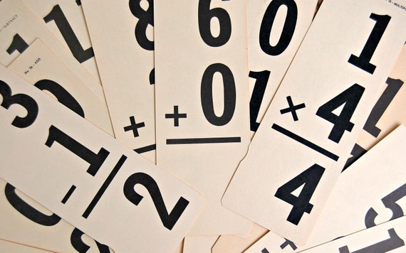 Three Sets of Vintage Addition, Subtraction & Multiplication Flash Cards