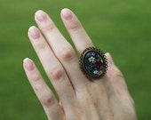 Floral Navy Brass Ring
