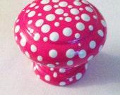 Hot Pink Polka Dot Dresser Knob - One Knob