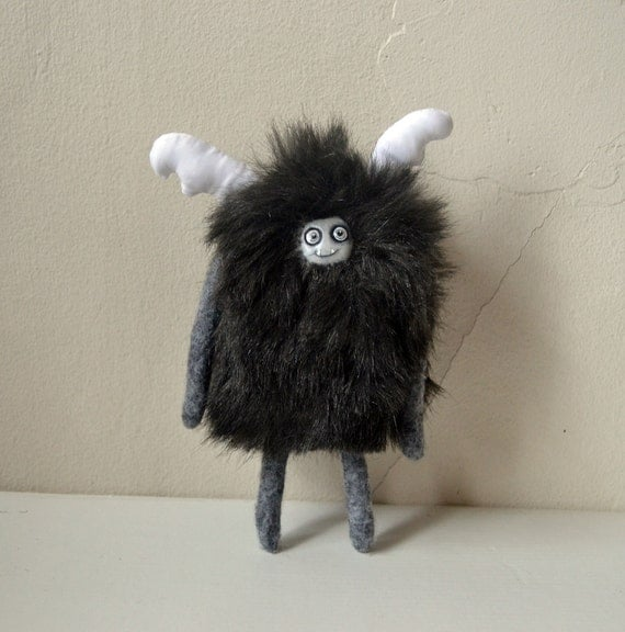 Reserved for Rebecca: Posable Furry Black Antlered Plush Creature