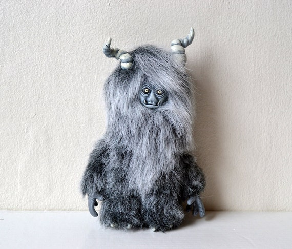 Grey Plush Posable Horned Creature