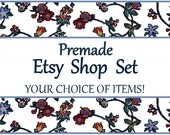 ASSEMBLE YOUR OWN - Premade Etsy Banner & Shop Set 11 - Flowers, floral