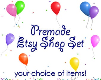 ASSEMBLE YOUR OWN Premade Etsy Banner & Shop Set 16 - Balloons, confetti, party