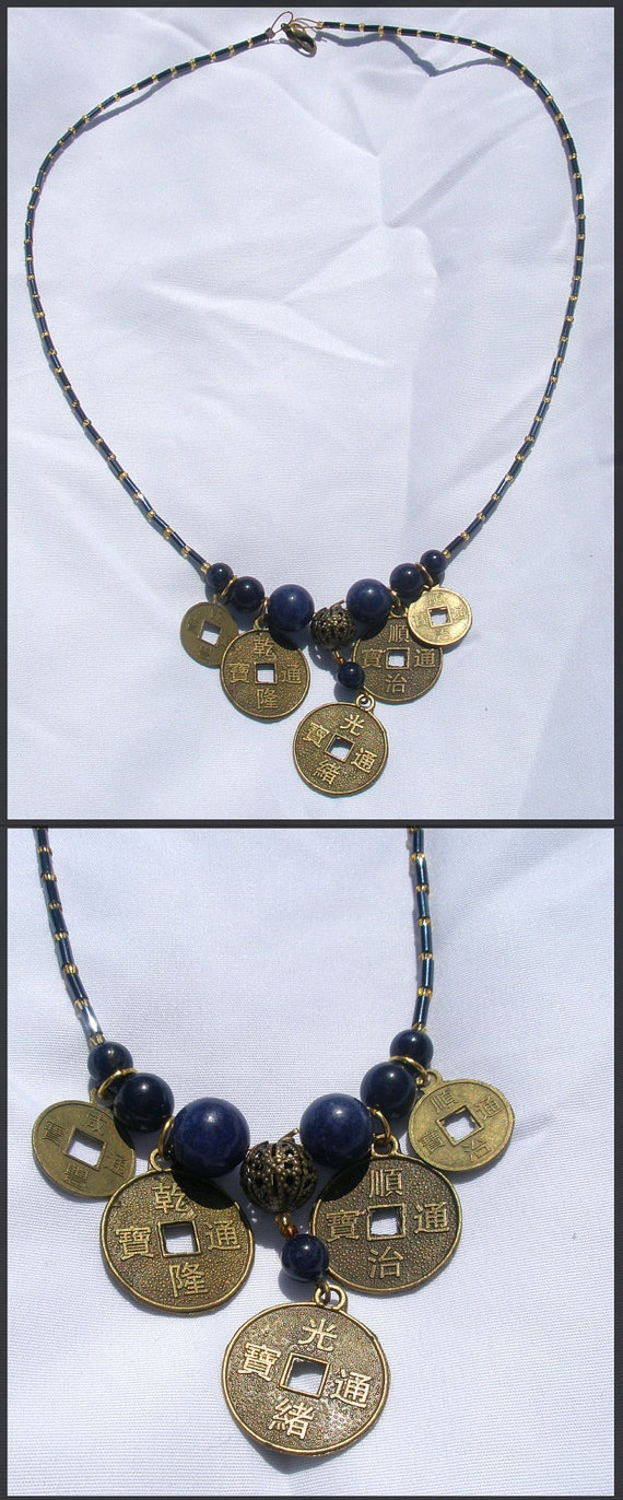 Coin Necklace with blue beads