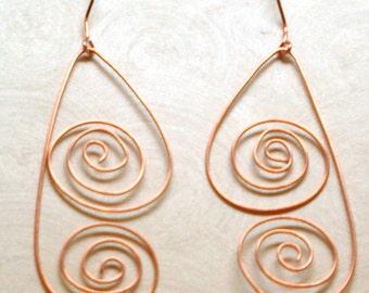 Copper Swirl Dangle Earrings