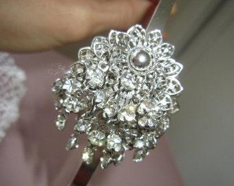 Vintage silver rhinestone upcycle jewelry headband, vintage dangle rhinestone hairband