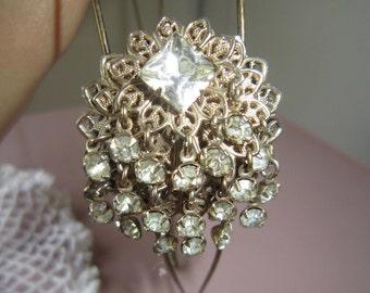Vintage bronze rhinestone upcycle jewelry headband, vintage dangle rhinestone hairband