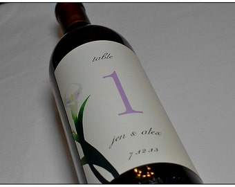 Table Number Wine Label - Custom Cala Lily Wine Labels - Personalized Label