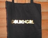 Metallic Gold and black Cotton Bag