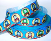 Thomas & Friends on Royal Blue Background Printed Grosgrain Ribbon 1 inch Supplies - 3 YARDS