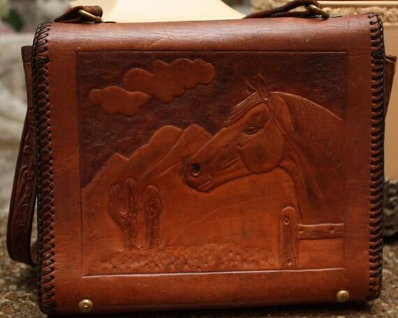 Vintage Embossed Leather Horse/Flower Purse
