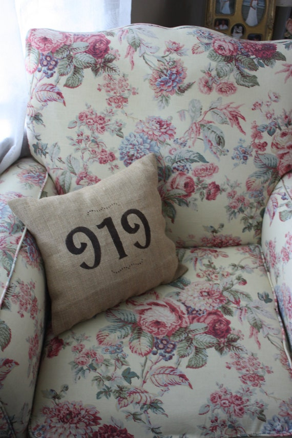 "Burlap Toss Pillow Featuring ""919"" Area Code"