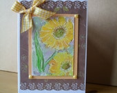 Original Watercolour Sun Flowers Card - Gift Boxed