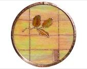 Stained Glass Rondel - Copper Border - Lemon Leaf Symbol of Friendship - Made to Order