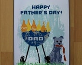 Fathers Day Personalized Art Print Framed - BBQ Grill and Dog - for Dad or Grandpa.