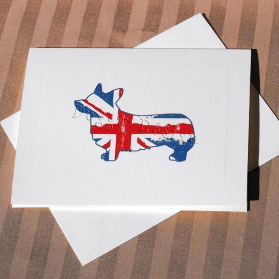 Union Jack Corgi Dog Note Card