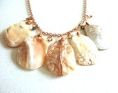 Ivory Mother of Pearl Shell Copper Charm Necklace