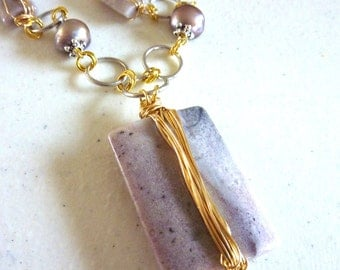 Wire Wrapped Lilac Purple Agate and Freshwater Pearls Necklace