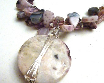 Wire Wrapped Lilac Purple Agate Stone on Multi Strand Necklace