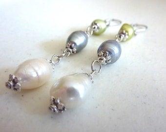 Green Grey Ivory Freshwater Pearls Dangle Earrings