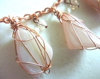 Pink Dyed White Quartz Copper Wire Wrapped Charm Necklace