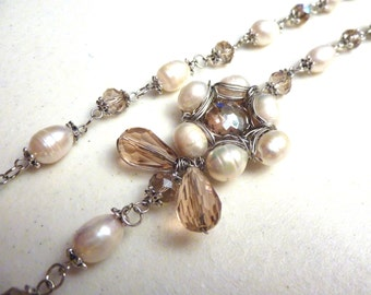 Champagne Topaz Sunflower Crystal and Ivory Freshwater Pearls Necklace