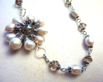 Champagne Topaz Daisy Crystal and Ivory Freshwater Pearls Necklace